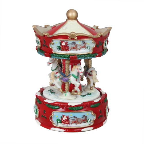 """6.5"""" Red and White Animated Musical Carousel Christmas Music Box - IMAGE 1"""