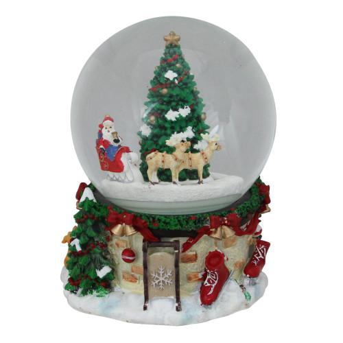 """6.5"""" Musical and Animated Santa on Sleigh Rotating Christmas Snow Globe - IMAGE 1"""