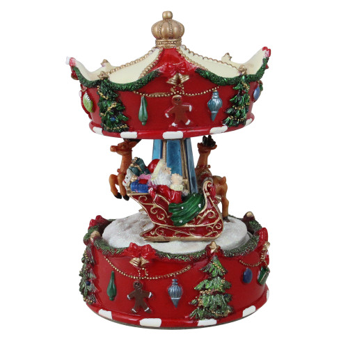 "6.5"" Red Animated Musical Santa and Reindeer Carousel Christmas Music Box - IMAGE 1"