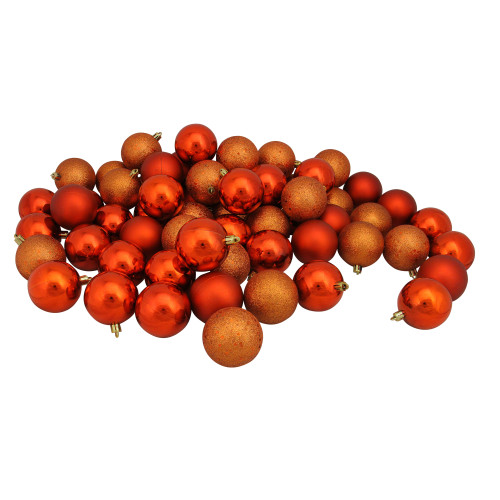 "60ct Burnt Orange Shatterproof 4-Finish Christmas Ball Ornaments 2.5"" (60mm) - IMAGE 1"