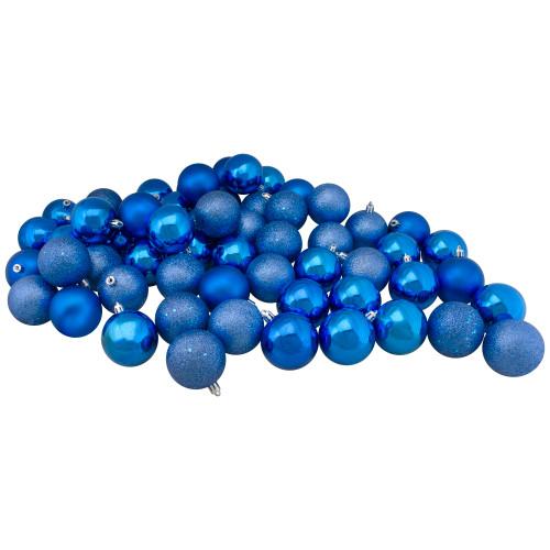 "60ct Lavish Blue Shatterproof 4-Finish Christmas Ball Ornaments 2.5"" (60mm) - IMAGE 1"
