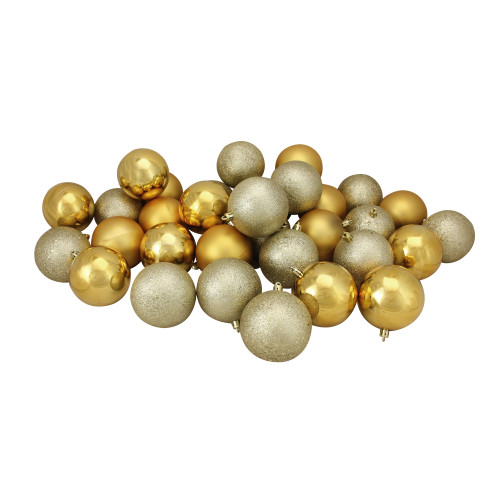 """60ct Gold and Gray Shatterproof 4-Finish Christmas Ball Ornaments 2.5"""" (60mm) - IMAGE 1"""