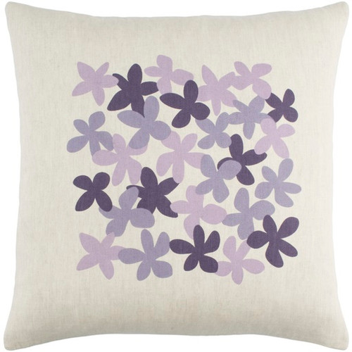 """20"""" White and Purple Floral Square Throw Pillow - Down Filler - IMAGE 1"""