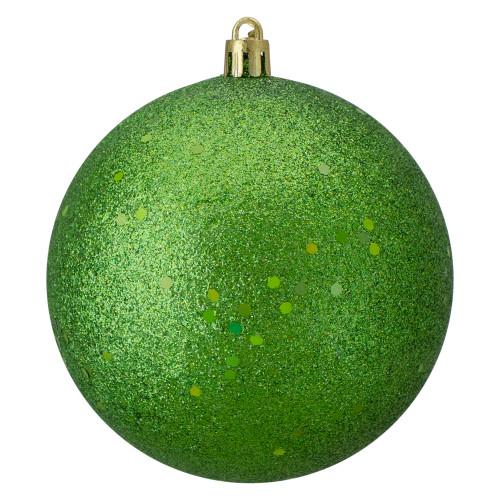 "Holographic Glitter Green Shatterproof Christmas Ball Ornament 4"" (100mm) - IMAGE 1"