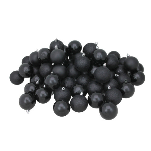 "60ct Jet Black Shatterproof 4-Finish Christmas Ball Ornaments 2.5"" (60mm) - IMAGE 1"
