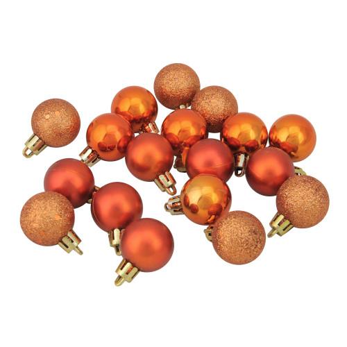 "18ct Burnt Orange Shatterproof 4-Finish Christmas Ball Ornaments 1.25"" (30mm) - IMAGE 1"
