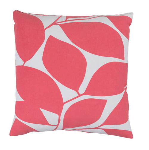 """18"""" Lavish Leaves Conch Pink and White Decorative Throw Pillow - Down Filler - IMAGE 1"""