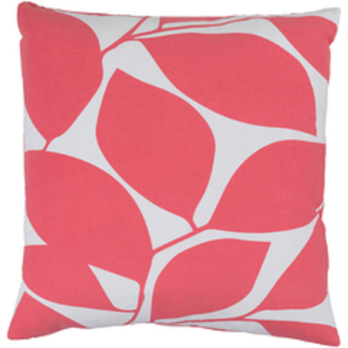 """18"""" Lavish Leaves Conch Pink and White Decorative Throw Pillow - Polyester Filled - IMAGE 1"""