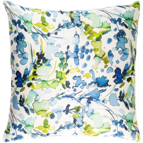 """22"""" White and Blue Contemporary Square Throw Pillow - Down Filler - IMAGE 1"""