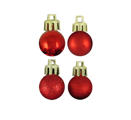 """18ct Red Shatterproof 4-Finish Christmas Ball Ornaments 1.25"""" (30mm) - IMAGE 1"""