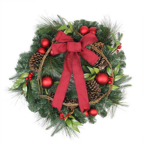 Red Berries and Ball Ornaments Artificial Christmas Wreath with Ribbon - 24-Inch, Unlit - IMAGE 1