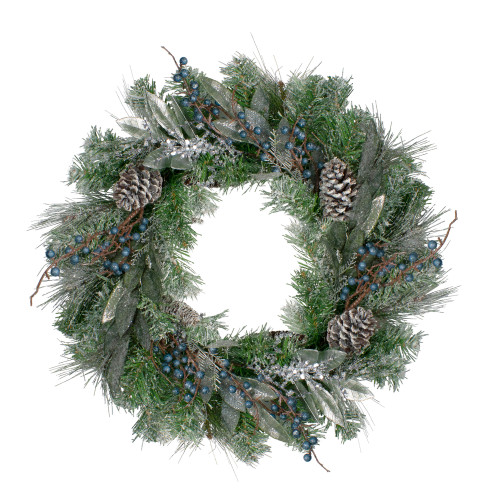 Mixed Pine and Blueberries Artificial Christmas Wreath -24-Inch, Unlit - IMAGE 1