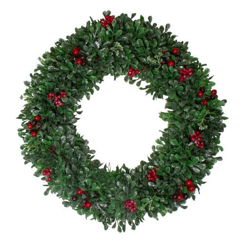 Boxwood, Holly and Cranberry Artificial Christmas Wreath - 20-Inch, Unlit - IMAGE 1