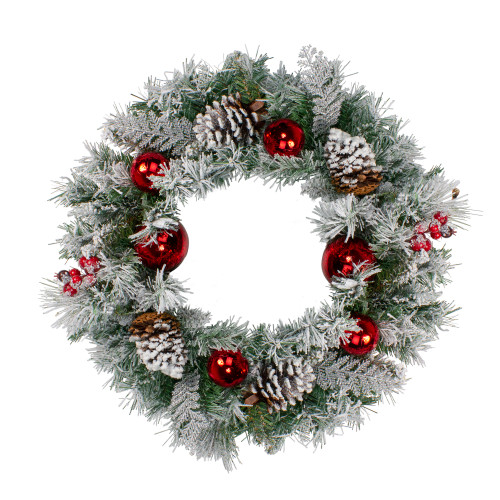 Flocked Pine with Red Ornaments and Berries Artificial Christmas Wreath - 24-Inch, Unlit - IMAGE 1
