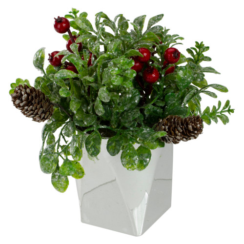 """8"""" Green and Silver Potted Artificial Boxwood with Berries Christmas Arrangement - IMAGE 1"""