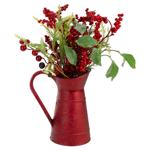 """13"""" Red and Green Foliage with Bell in Vintage Milk Jug Christmas Decoration - IMAGE 1"""