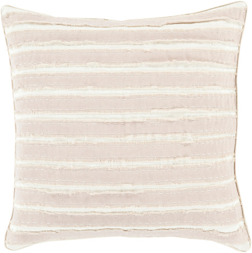 "22"" White and Desert Sand Brown Striped Throw Pillow - Down Filler - IMAGE 1"