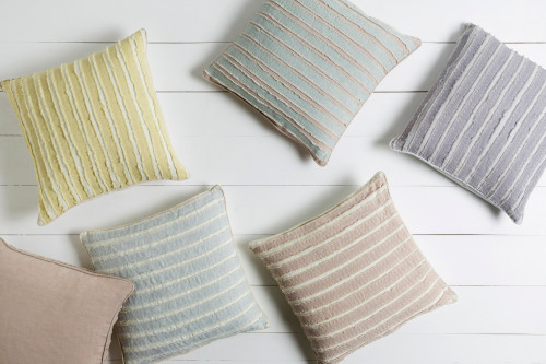 """20"""" Blue and White Striped Square Throw Pillow - Down Filler - IMAGE 1"""