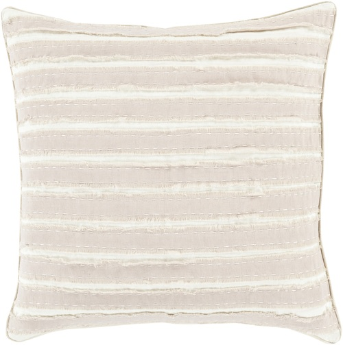 "22"" White and Desert Sand Brown Striped Throw Pillow - IMAGE 1"