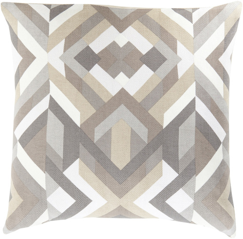 """22"""" Brown and Gray Contemporary Geometric Throw Pillow - Down Filler - IMAGE 1"""