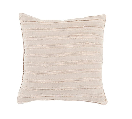 "22"" Beige and White Striped Woven Throw Pillow - IMAGE 1"