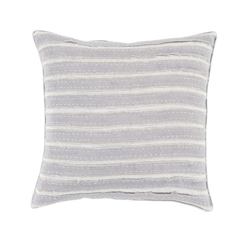 """22"""" Cream White and Gray Striped Woven Throw Pillow - IMAGE 1"""