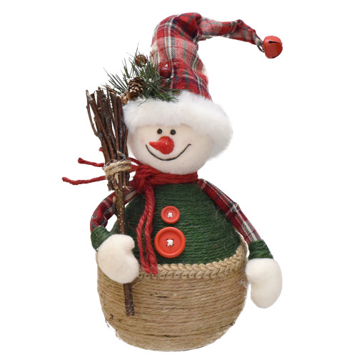 "14.5"" Green and Red Plaid Snowman with Broom Tabletop Christmas Figurine - IMAGE 1"