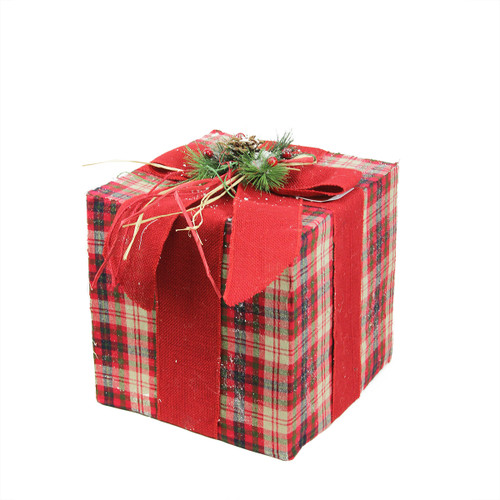 "15"" Red Plaid Gift Box with Pine Bow Christmas Tabletop Decor - IMAGE 1"