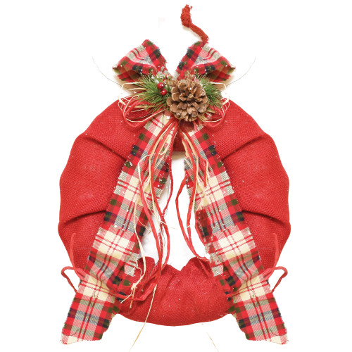 Red Plaid Bow and Pine Accents Artificial Christmas Wreath - 13-Inch, Unlit - IMAGE 1