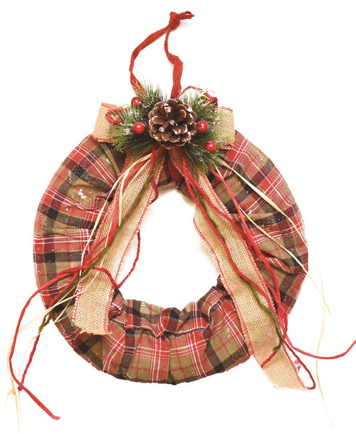 Red and Beige Plaid Christmas Wreath with Burlap Bow - 13-Inch, Unlit - IMAGE 1