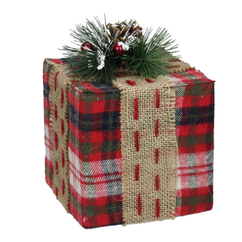 "6.75"" Red Plaid Square Gift Box with Pine Burlap Bow Table Top Christmas Accent - IMAGE 1"