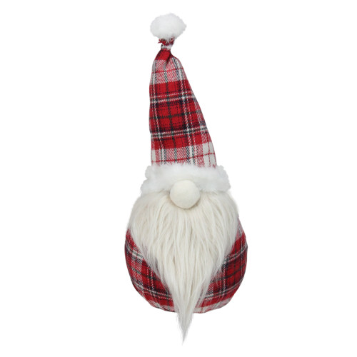 "12"" Red Plaid Santa Gnome Table Top Christmas Figure - IMAGE 1"