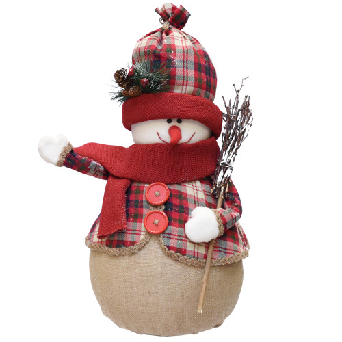 """22"""" Red and Brown Snowman with Broom Christmas Tabletop Figurine - IMAGE 1"""