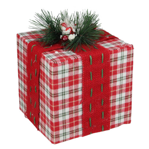 "8"" Red and Green Plaid Square Gift Box with Pine Bow Table Top Christmas Accent - IMAGE 1"