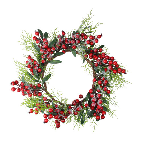 Frosted Green Leaves and Red Berries Artificial Christmas Wreath - 18-Inch, Unlit - IMAGE 1