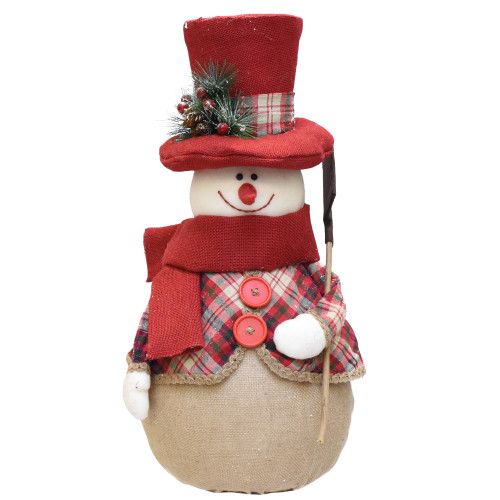 "22.75"" Red and Brown Plaid Snowman with Shovel Tabletop Christmas Figure - IMAGE 1"