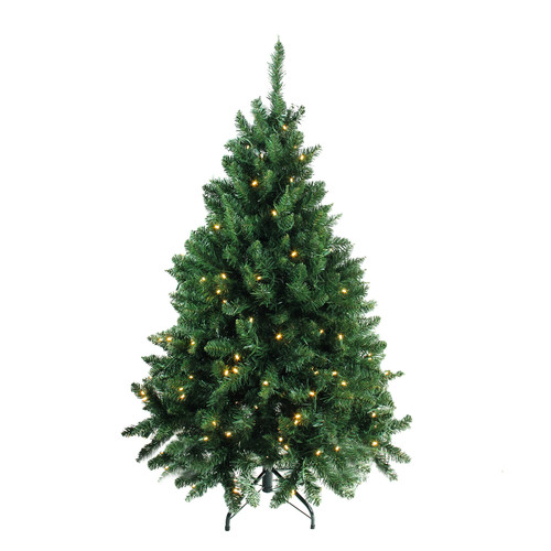 4.5' Pre-Lit Buffalo Fir Full Artificial Christmas Tree - Warm White LED Lights - IMAGE 1