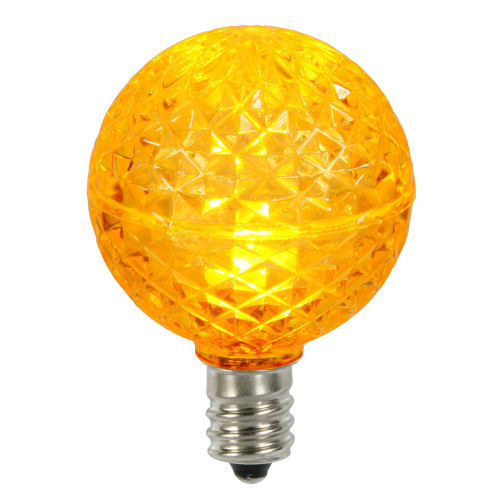 Club Pack of 25 LED G40 Yellow Faceted Replacement Christmas Light Bulbs - IMAGE 1