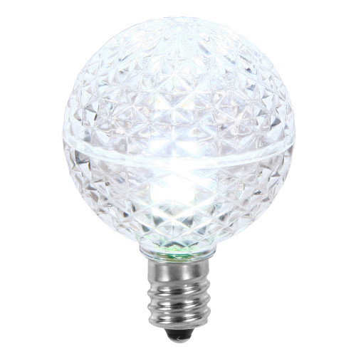 Club Pack of 25 LED G40 Cool White Faceted Replacement Christmas Light Bulbs - IMAGE 1