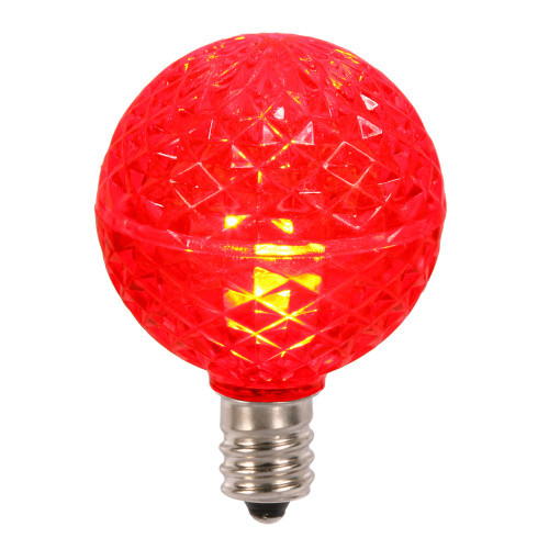 Club Pack of 25 LED G40 Red Faceted Replacement Christmas Light Bulbs - IMAGE 1