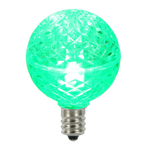 Club Pack of 25 LED G40 Green Faceted Replacement Christmas Light Bulbs - IMAGE 1