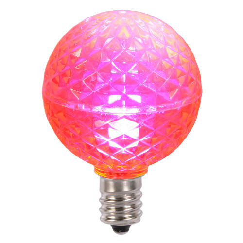Club Pack of 25 LED G40 Pink Faceted Replacement Christmas Light Bulbs - IMAGE 1