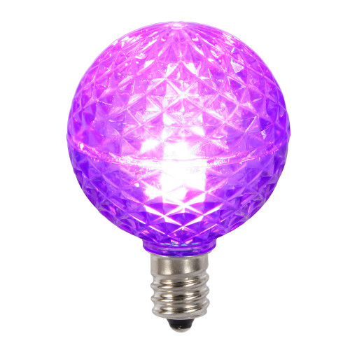 Club Pack of 25 LED G40 Purple Faceted Replacement Christmas Light Bulbs - IMAGE 1