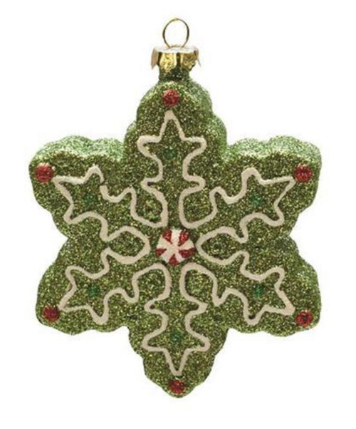 "4"" Green and White Glitter Shatterproof Christmas Snowflake Ornament - IMAGE 1"
