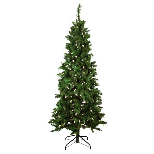 7' Pre-Lit Slim Mixed Long Needle Pine Artificial Christmas Tree - Multicolor LED Lights - IMAGE 1