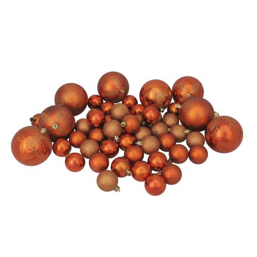 "125ct Burnt Orange Shatterproof 4-Finish Christmas Ornaments 5.5"" (140mm) - IMAGE 1"