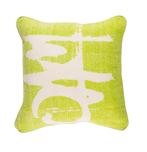 "20"" Lime Green and Cream White Woven Decorative Throw Pillow - Polyester Filled - IMAGE 1"