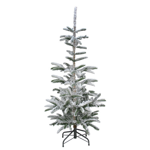 9' Slim Flocked Noble Fir Artificial Christmas Tree - Unlit - IMAGE 1