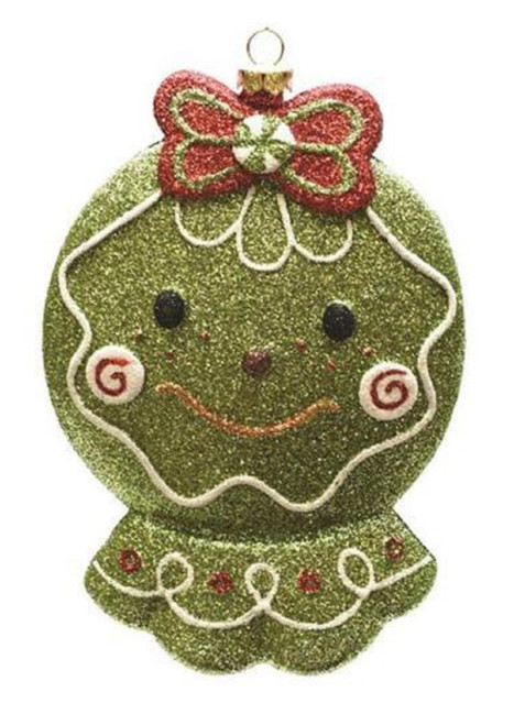 """5.5"""" Green and Red Glittered Shatterproof Gingerbread Head Christmas Ornament - IMAGE 1"""