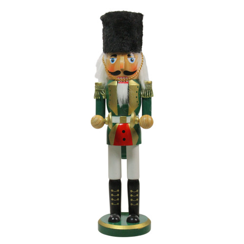 """14"""" Green and White Cymbalist Christmas Nutcracker - IMAGE 1"""